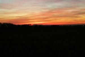 Sonnenuntergang auf Idaturm in der Nähe von Bückeburg.