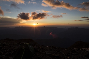 Sonnenuntergang auf circa 3200m