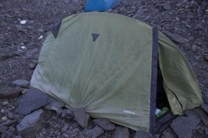 Zelten neben die Hütte Tete Rousse.