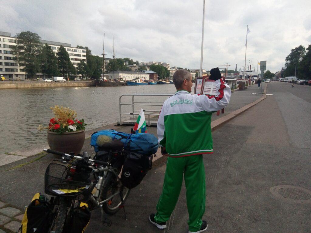Mehr über mich - Hier stehe ich mit meinem Fahrrad in Turku.